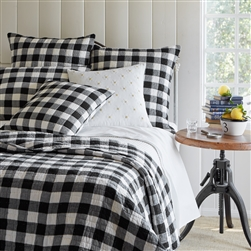 Black White Buffalo Check Quilt Bedding Collection With